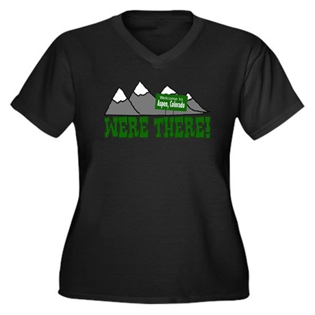 Were There Women's Plus Size V-Neck Dark T-Shirt