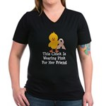 Pink Ribbon Chick For Friend Women's V-Neck Dark T