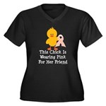 Pink Ribbon Chick For Friend Women's Plus Size V-N