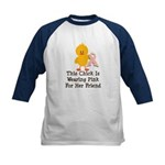 Pink Ribbon Chick For Friend Kids Baseball Jersey