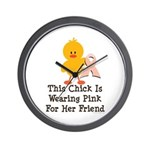 Pink Ribbon Chick For Friend Wall Clock