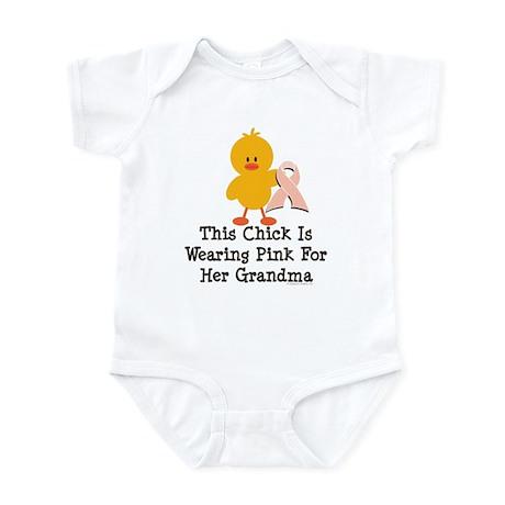 Pink Ribbon Chick For Grandma Infant Bodysuit