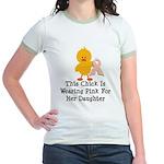 Pink Ribbon Chick For Daughter Jr. Ringer T-Shirt
