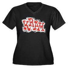 Kram Women's Plus Size V-Neck Dark T-Shirt