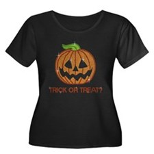 Printed Rhinestone Pumpkin Women's Plus Size Tee