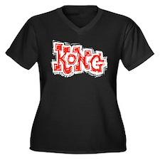 Kong Women's Plus Size V-Neck Dark T-Shirt