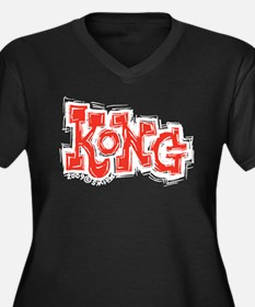 Kong Women's Plus Size V-Neck Dark T-Shirt