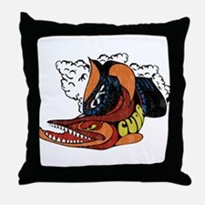 Vintage Cuda Fish Throw Pillow