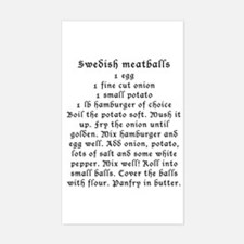 Swedish Meatball recipe on Rectangle Decal
