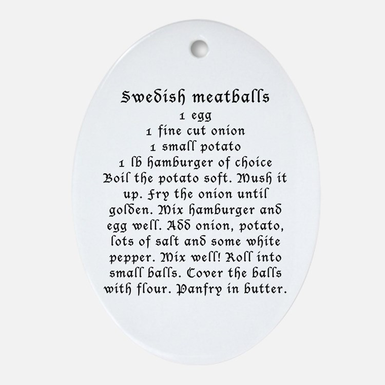 Swedish Meatball recipe on Oval Ornament