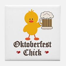 Oktoberfest Chick Tile Coaster