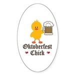 Oktoberfest Chick Oval Sticker (50 pk)