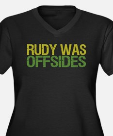 Rudy Was Offsides Women's Plus Size V-Neck Dark T-