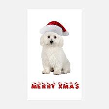 Bichon Frise Christmas Rectangle Decal
