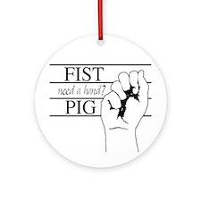 Fist Pig Ornament (Round)