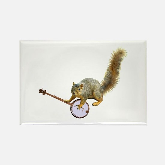 Squirrel with Banjo Rectangle Magnet