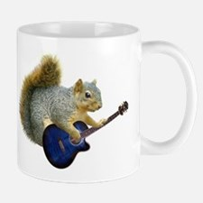 Squirrel with Blue Guitar Small Mugs