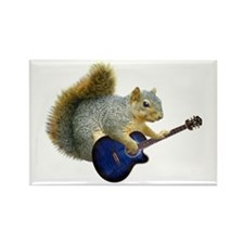 Squirrel with Blue Guitar Rectangle Magnet