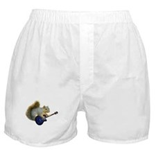 Squirrel with Blue Guitar Boxer Shorts