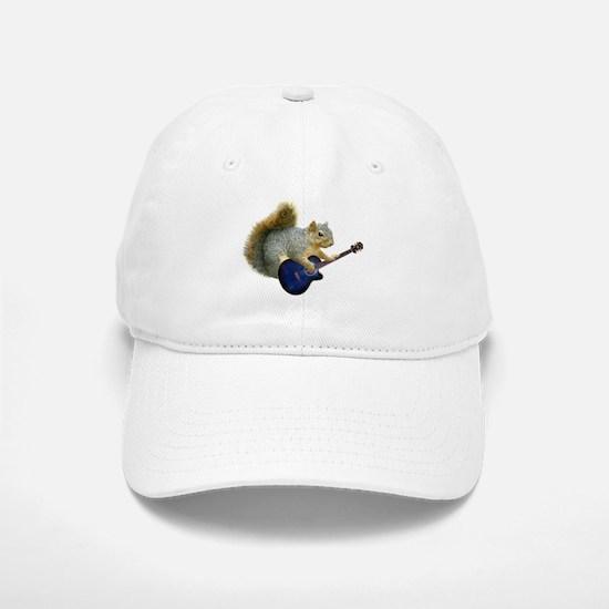 Squirrel with Blue Guitar Baseball Baseball Cap