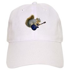 Squirrel with Blue Guitar Baseball Cap