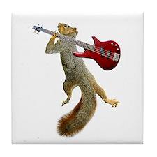 Squirrel Red Guitar Tile Coaster
