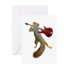 Squirrel Red Guitar Greeting Card