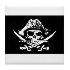 Pirate Flag Jolly Roger Skull flag Tile Coaster