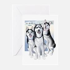 Three Huskies Greeting Cards (Pk of 20)