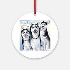 Three Huskies Ornament (Round)
