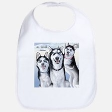 Three Huskies Bib