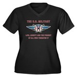 U.S. Military Women's Plus Size V-Neck Dark T-Shir