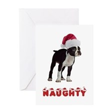 Naughty Boston Terrier Greeting Card