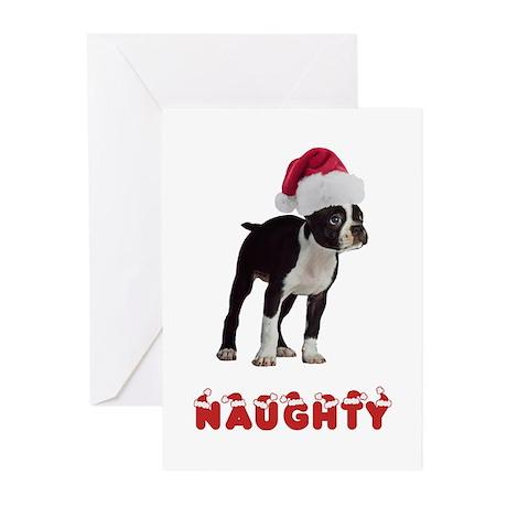 Naughty Boston Terrier Greeting Cards (Pk of 20)