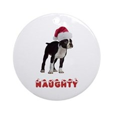 Naughty Boston Terrier Ornament (Round)