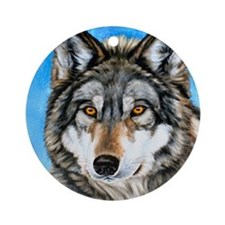 Painted Wolf Ornament (Round)