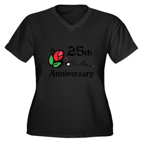 25th Women's Plus Size V-Neck Dark T-Shirt