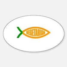Vegetarian Carrot Oval Decal