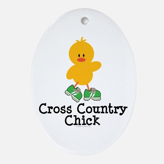 Cross Country Chick Oval Ornament
