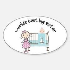 big sister little sister matching Oval Decal