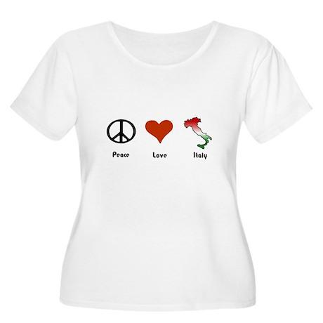 Peace, Love, Italy Women's Plus Size Scoop Neck T-