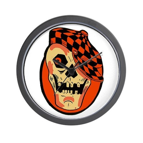 Rockabilly Halloween Skull Wall Clock