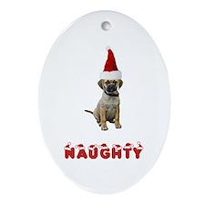 Naughty Puggle Oval Ornament