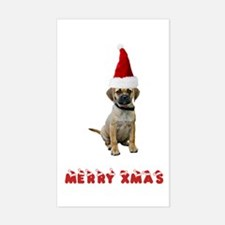 Puggle Christmas Rectangle Decal