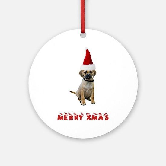 Puggle Christmas Ornament (Round)