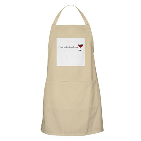 I Pair Well With Red Wine BBQ Apron