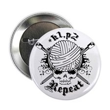 "Knitting Skull Black 2.25"" Button"
