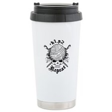 Knitting Skull Black Travel Mug