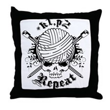 Knitting Skull Black Throw Pillow