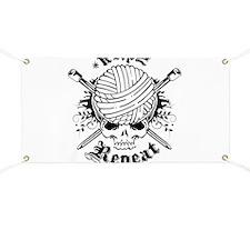 Knitting Skull Black Banner